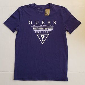 New Men's GUESS Short Sleeve navy Shirt sz M